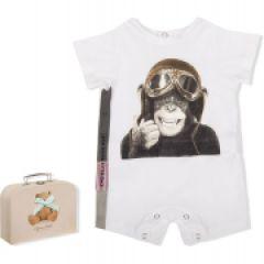 Salopeta Rosie Scurta Bebelusi Baieti cu Imprimeu Simpatic in Cutie Cadou
