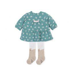 Rochita Turquoise Fete si Bebelusi Fete in Set cu Ciorapei Simpatici