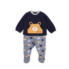 Set Bebelusi Baieti Bluza si Pantalonasi cu Botosei cu Simpatiul Ursulet Tutto
