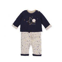 Set Bebelusi Baieti cu Bluza Bleumarin si Pantalonasi cu Imprimeuri
