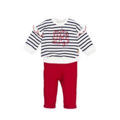 Set Fete cu Pantaloni Rosii si Bluza  in Dungi