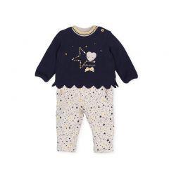 Trening Bebelusi Fete cu Bluza Bleumarin si Pantaloni cu Imprimeuri