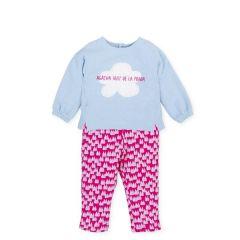 Set Bebelusi Fete Pantaloni Colorati  si Bluza  Albastru Deschis Nuvola