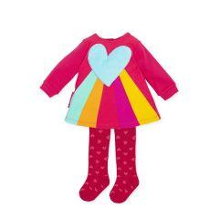 Rochita Multicolora cu Inima 3D si Ciorapei Asortati