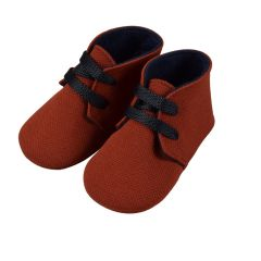 Papuci  Rosii cu Sireturi Blue pentru Bebelusi