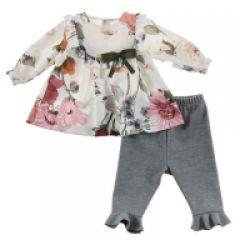 Set Bebelusi Fete Pantaloni cu Volanas si Bluza Multicolora