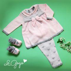 Set tricotat cu inimioare pentru fetite