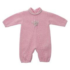 Salopeta roz din fir delicat de lana pentru fete