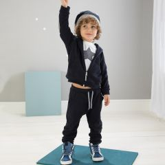 Pantaloni Nanan in fleece bleumarin
