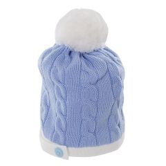 Caciula albastra din lana pura pentru bebelusi