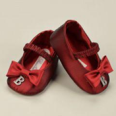 Papuci Fete In Satin Rosu cu Decor Stras Barcellino