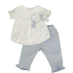 Set Fete Bluza si Pantalonasi cu Mici Volane