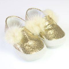 Slip-on Aurii cu Pompoane de Blana