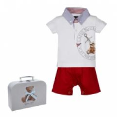 Set Bebelusi Baieti Tricou Polo si Pantaloni Scurti in Cutie Cadou