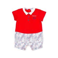 Salopeta Rosie cu Guleras Alb si Pantalonasi Multicolor